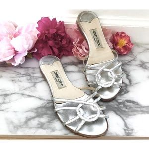 Authentic Jimmy Choo Metallic Silver Mules Sandals